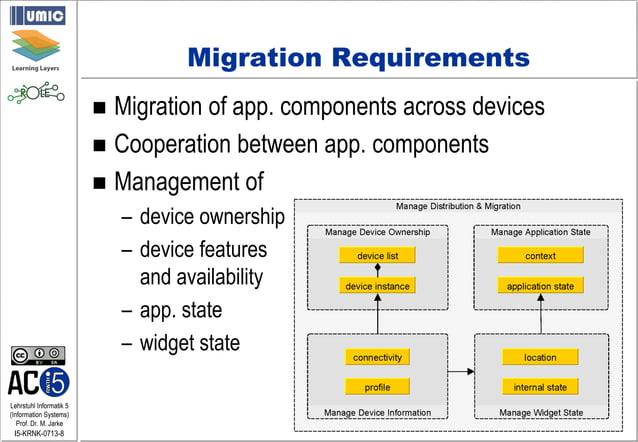 Lehrstuhl Informatik 5 (Information Systems) Prof. Dr. M. Jarke I5-KRNK-0713-8 Migration Requirements  Migration of app. ...