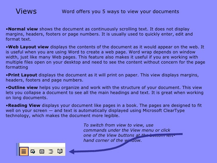 Views <ul><li>Normal   view  shows the document as continuously scrolling text. It does not display margins, headers, foot...