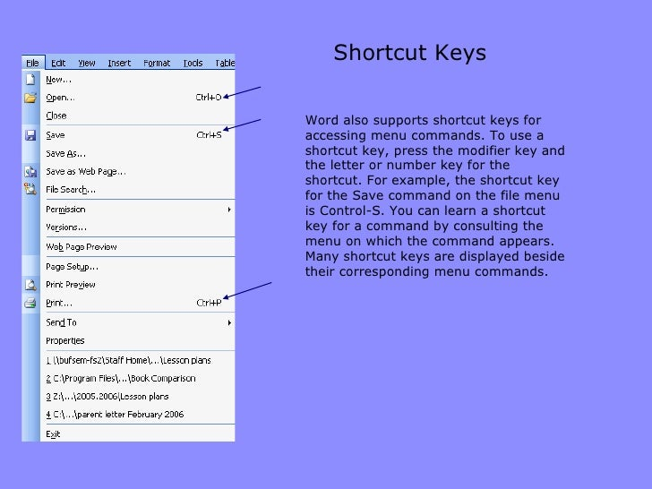Shortcut Keys Word also supports shortcut keys for accessing menu commands. To use a shortcut key, press the modifier key ...