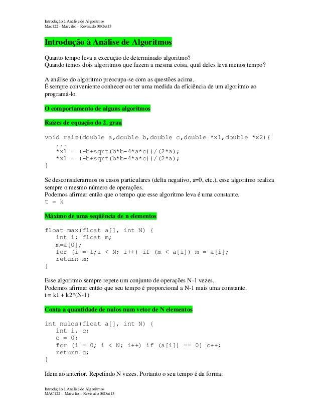 Introdução à Análise de Algoritmos Mac122 - Marcilio – Revisado 08Out13  Introdução à Análise de Algoritmos Quanto tempo l...