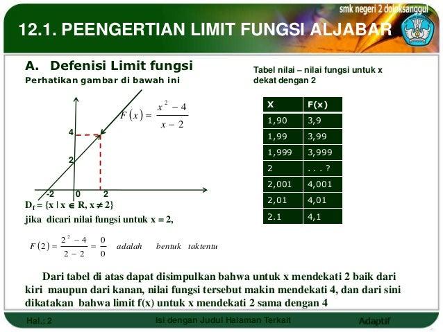 12.1. PEENGERTIAN LIMIT FUNGSI ALJABARA. Defenisi Limit fungsi                                           Tabel nilai – nil...