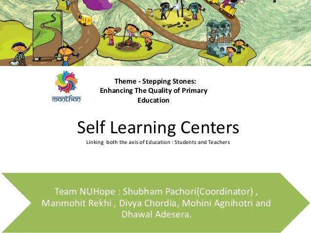 Self Learning Centers Linking both the axis of Education : Students and Teachers Team NUHope : Shubham Pachori(Coordinator...