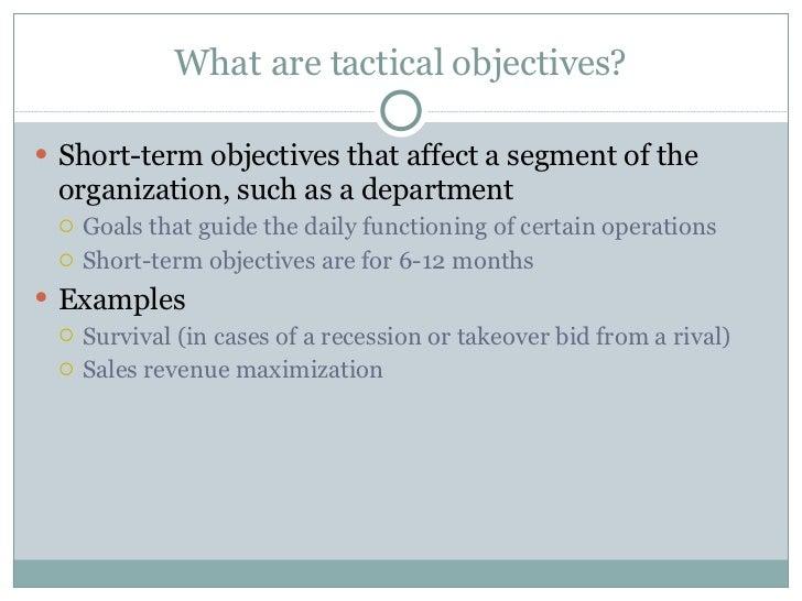 Short Term Objectives : Organizational objectives day