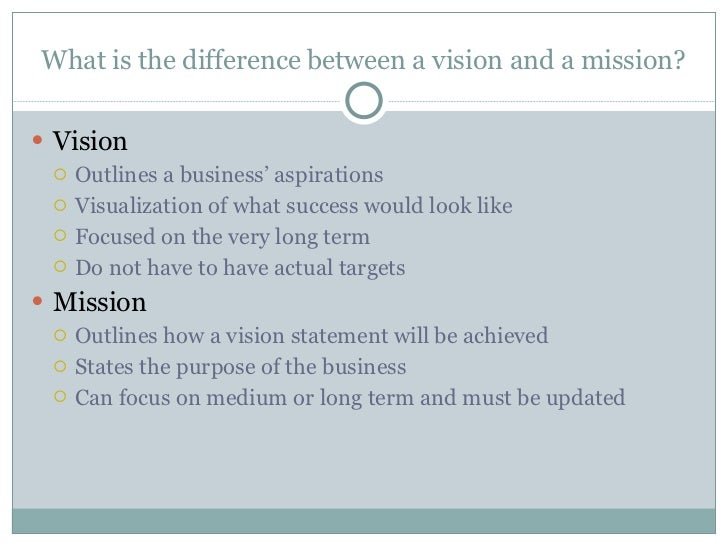 What is the difference between a vision and a mission? <ul><li>Vision </li></ul><ul><ul><li>Outlines a business' aspiratio...