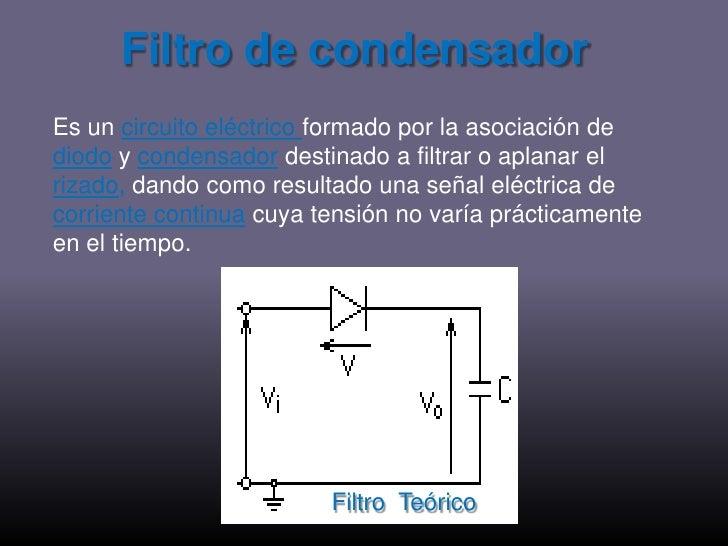Filtro de condensador<br />Es un circuito eléctrico formado por la asociación de diodoy condensadordestinado a filtrar o a...