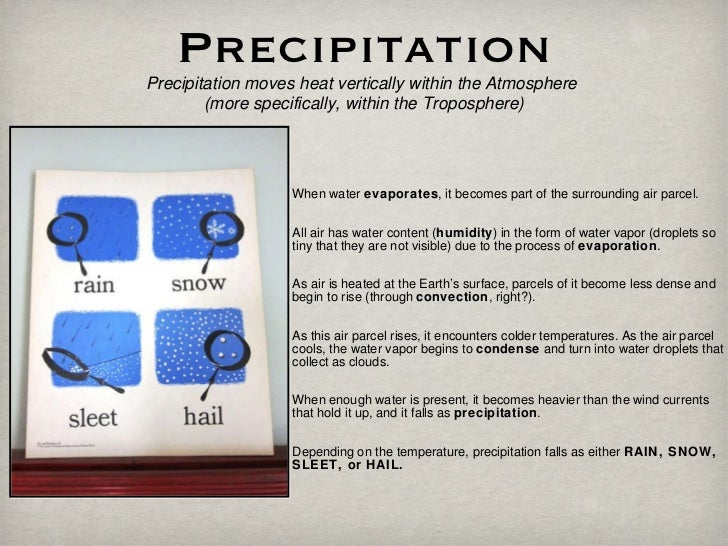 Precipitation Precipitation moves heat vertically within the Atmosphere  (more specifically, within the Troposphere) When ...