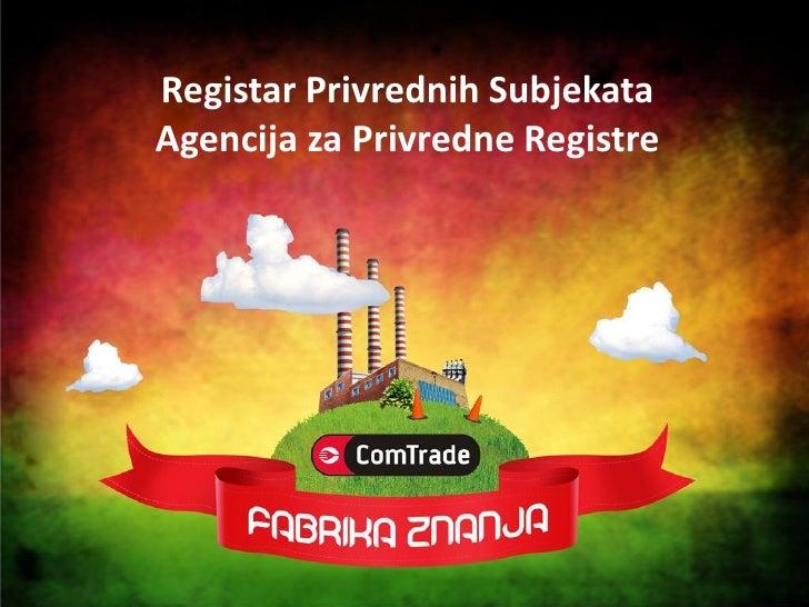 Registar Privrednih Subjekata Agencija za Privredne Registre