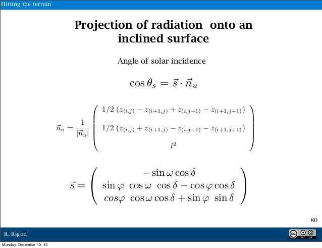 Hitting the terrain                               Projection of radiation onto an                                       in...