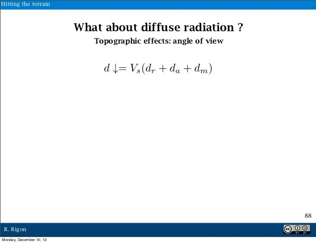 Hitting the terrain                          What about diffuse radiation ?                             Topographic effect...