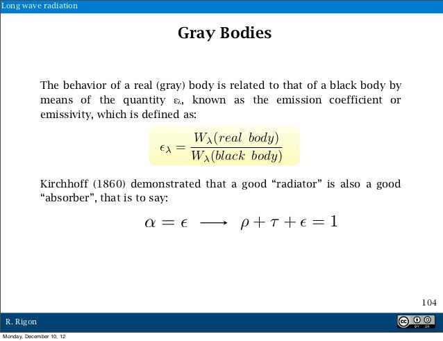 Long wave radiation                                        Gray Bodies             The behavior of a real (gray) body is r...