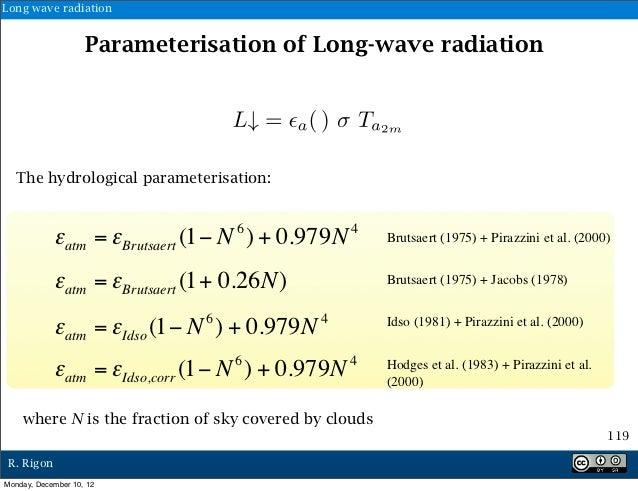 Long wave radiation                    Parameterisation of Long-wave radiation   The hydrological parameterisation:       ...