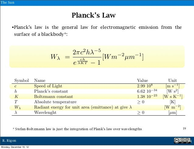 The Sun                                            Planck's Law        •Planck's law is the general law for electromagneti...