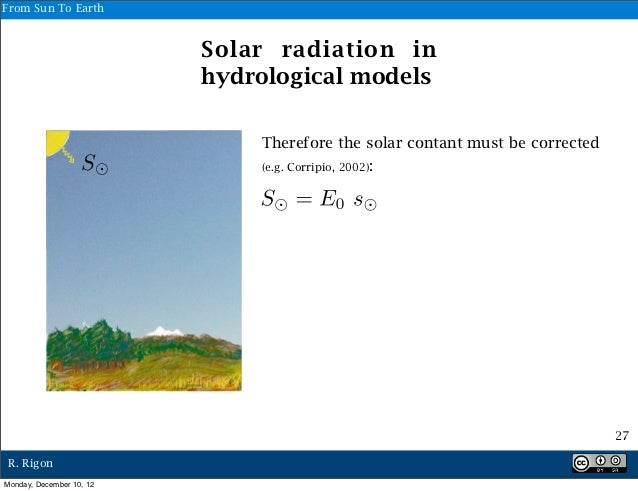 From Sun To Earth                          Solar radiation in                          hydrological models                ...