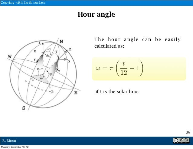 Copying with Earth surface                             Hour angle                                 The hour angle can be ea...