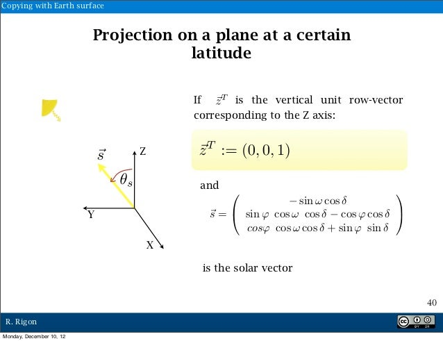 Copying with Earth surface                          Projection on a plane at a certain                                    ...