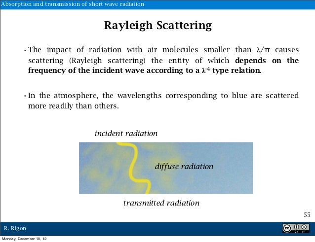 Absorption and transmission of short wave radiation                                    Rayleigh Scattering          •The i...