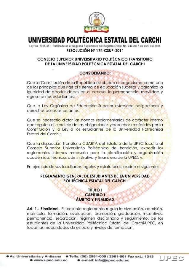 RESOLUCIÓN Nº 174-CSUP-2011     CONSEJO SUPERIOR UNIVERSITARIO POLITÉCNICO TRANSITORIO        DE LA UNIVERSIDAD POLITÉCNIC...
