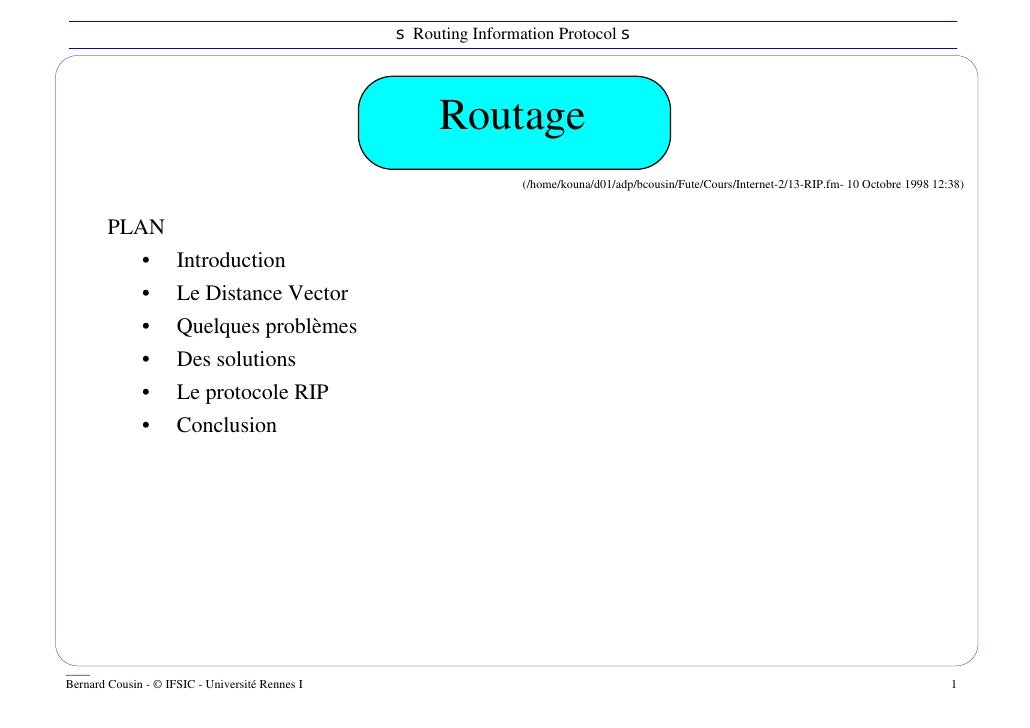 s Routing Information Protocol s                                                      Routage                             ...