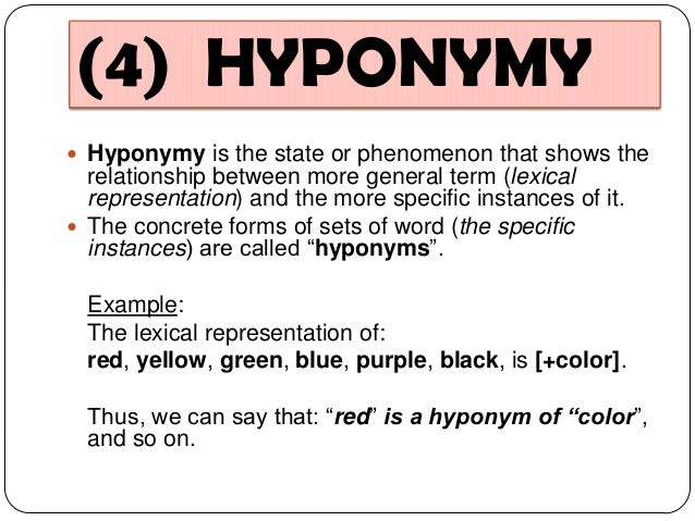 hyponymy The semantic relation of being subordinate or belonging to a lower rank or class.
