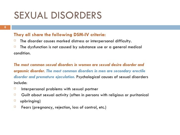Sexual disorder causes