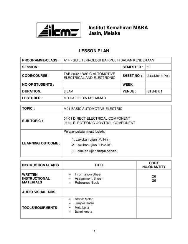 Institut Kemahiran MARA                                      Jasin, Melaka                               LESSON PLANPROGRA...
