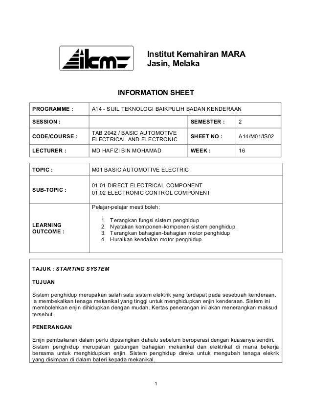 Institut Kemahiran MARA                                            Jasin, Melaka                                INFORMATIO...