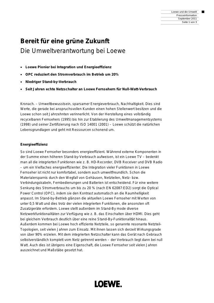 Loewe und die Umwelt                                                                                               Pressei...