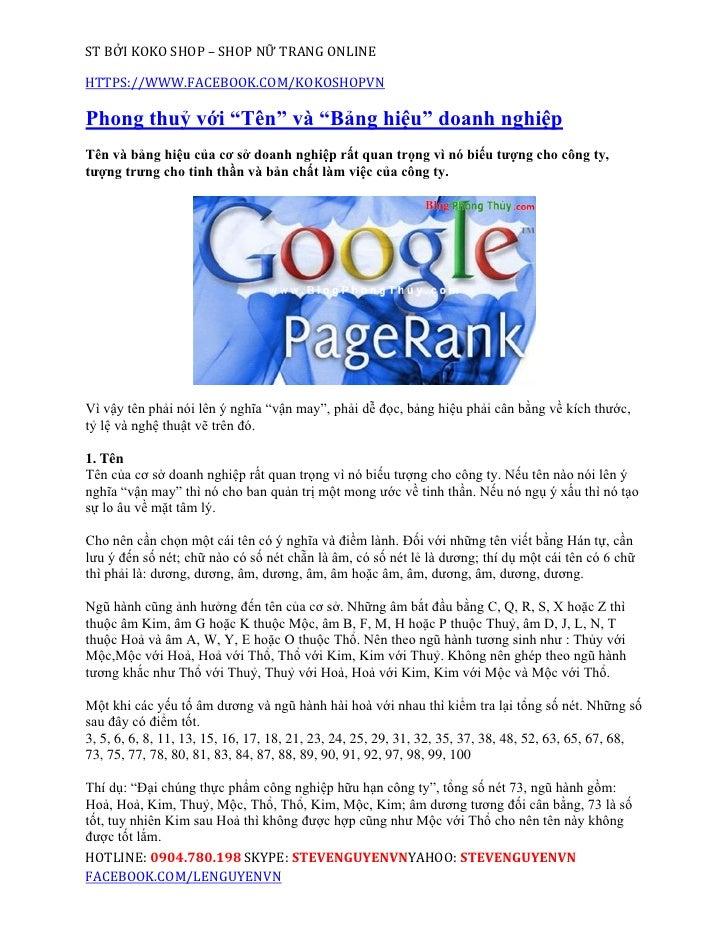 """ST BỞI KOKO SHOP – SHOP NỮ TRANG ONLINEHTTPS://WWW.FACEBOOK.COM/KOKOSHOPVNPhong thuỷ với """"Tên"""" và """"Bảng hiệu"""" doanh nghiệp..."""
