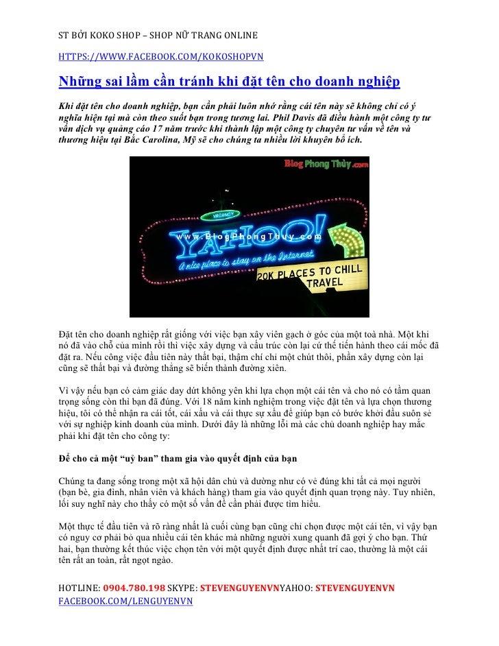ST BỞI KOKO SHOP – SHOP NỮ TRANG ONLINEHTTPS://WWW.FACEBOOK.COM/KOKOSHOPVNNhững sai lầm cần tránh khi đặt tên cho doanh ng...