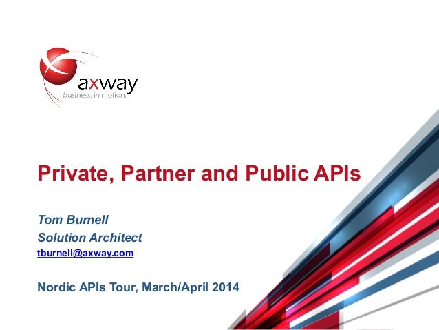© 2014 Axway | Confidential 1 Private, Partner and Public APIs Tom Burnell Solution Architect tburnell@axway.com Nordic AP...