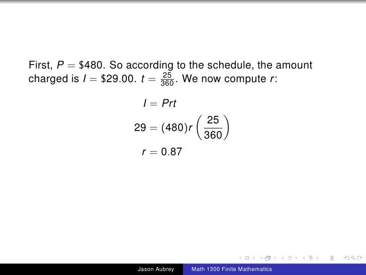 Math 1300: Section 3-1 Simple Interest