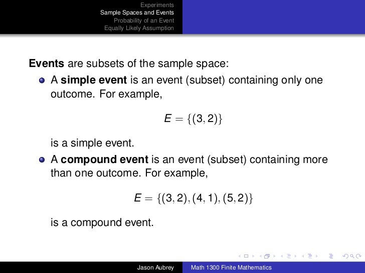 Math 1300: Section 8-1 Sample Spaces, Events, And Probability