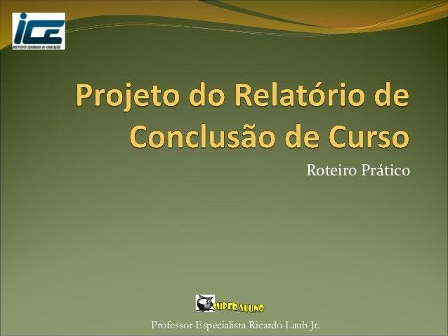 Professor Especialista Ricardo Laub Jr. Roteiro Prático