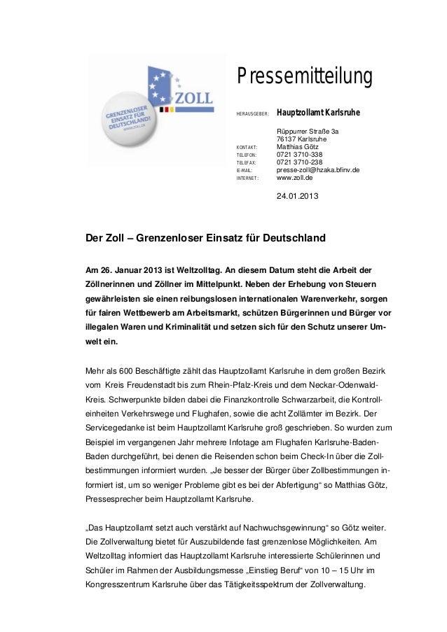 Pressemitteilung                                         HERAUSGEBER:   Hauptzollamt Karlsruhe                            ...