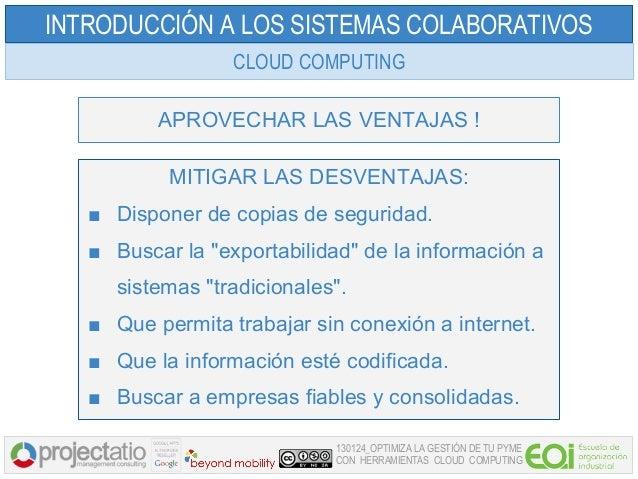 INTRODUCCIÓN A LOS SISTEMAS COLABORATIVOS                  CLOUD COMPUTING          APROVECHAR LAS VENTAJAS !           MI...