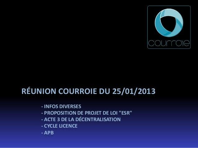 """RÉUNION COURROIE DU 25/01/2013    - INFOS DIVERSES    - PROPOSITION DE PROJET DE LOI """"ESR""""    - ACTE 3 DE LA DÉCENTRALISAT..."""