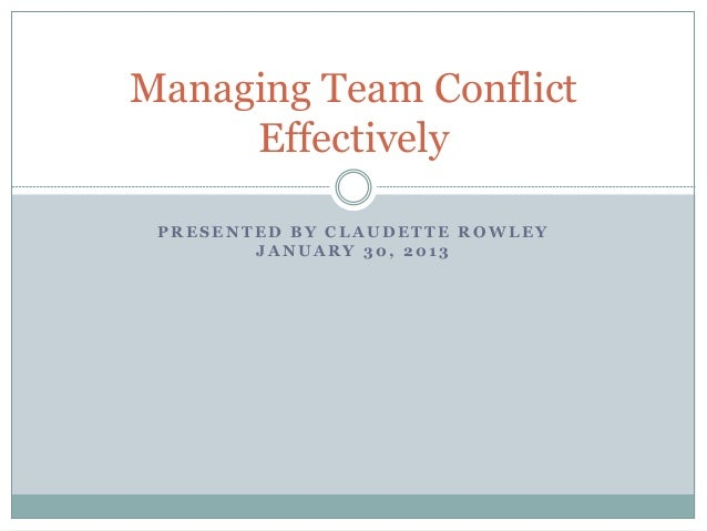 Handling Team Conflict with the General Procedural Model