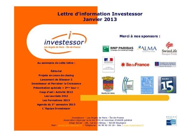 Lettre d'information Investessor                               Janvier 2013                                               ...