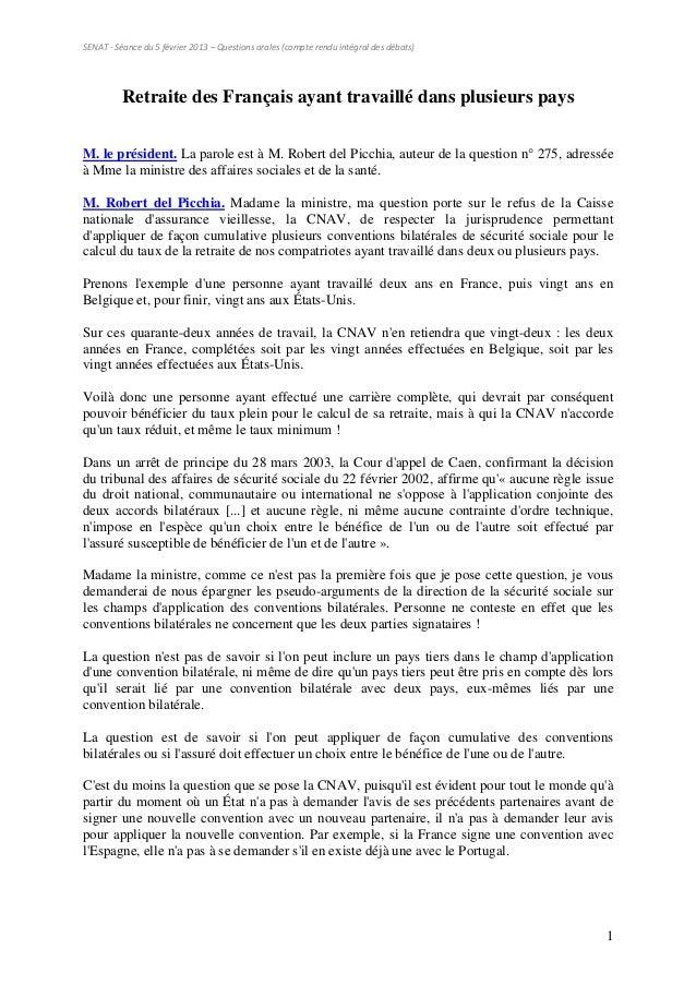SENAT - Séance du 5 février 2013 – Questions orales (compte rendu intégral des débats)          Retraite des Français ayan...