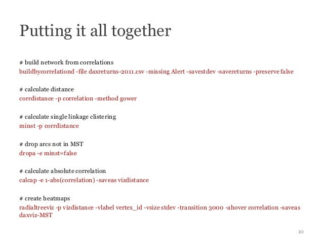 Putting it all together# build network from correlationsbuildbycorrelationd -file daxreturns-2011.csv -missing Alert -save...