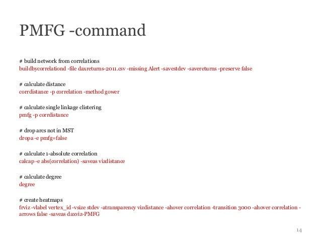 PMFG -command# build network from correlationsbuildbycorrelationd -file daxreturns-2011.csv -missing Alert -savestdev -sav...