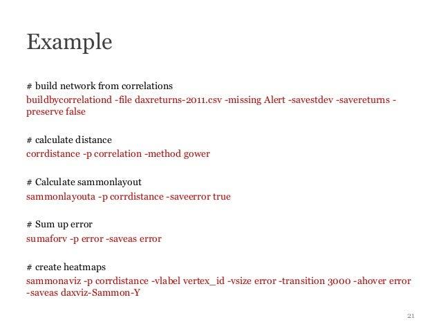 Example# build network from correlationsbuildbycorrelationd -file daxreturns-2011.csv -missing Alert -savestdev -saveretur...