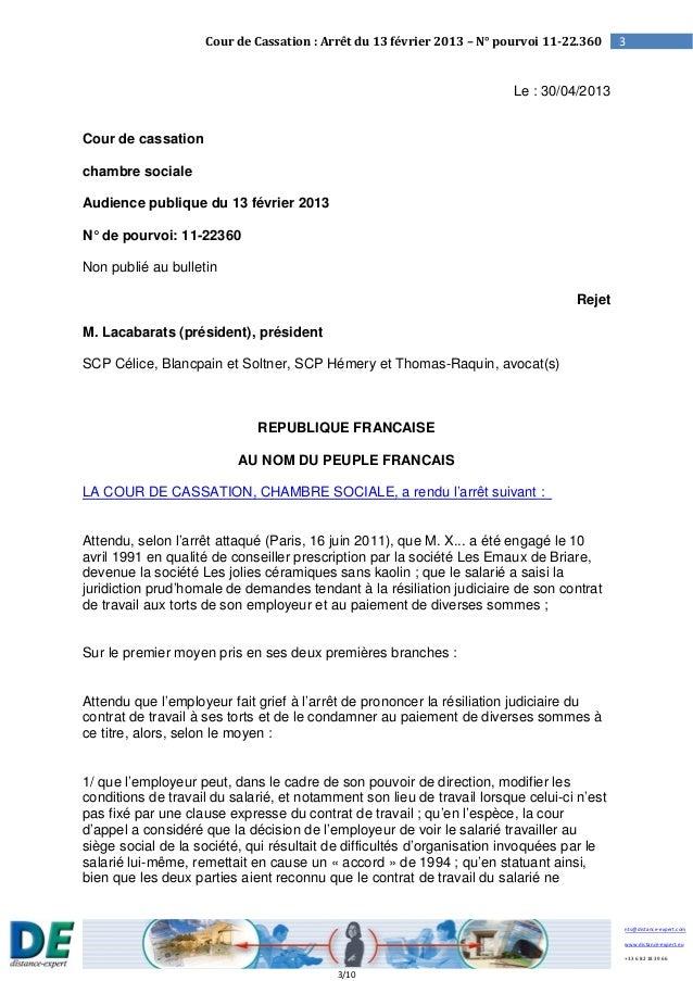 Arr t cour de cassation du 13 f vrier 2013 - Chambre sociale de la cour de cassation ...