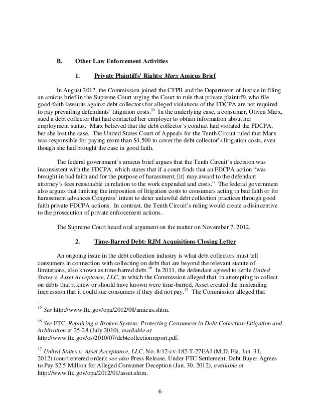 FTC Fair Debt Collection Practices Act Report to the CFPB Feb 2013 – Release of Debt Letter
