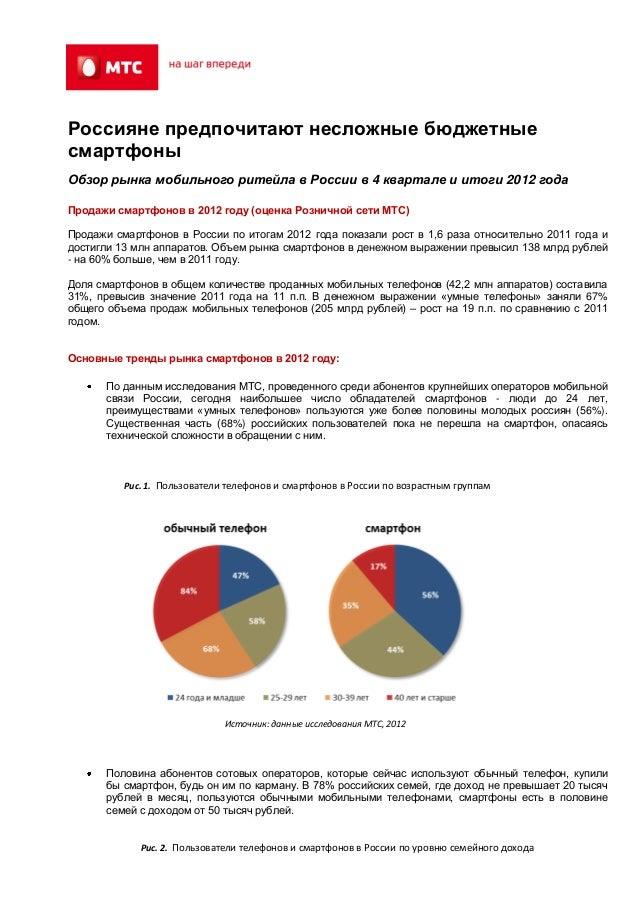 Россияне предпочитают несложные бюджетныесмартфоныОбзор рынка мобильного ритейла в России в 4 квартале и итоги 2012 годаПр...