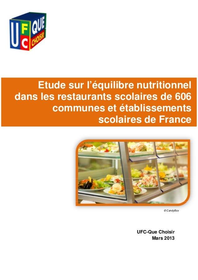 Etude sur l'équilibre nutritionneldans les restaurants scolaires de 606        communes et établissements                 ...