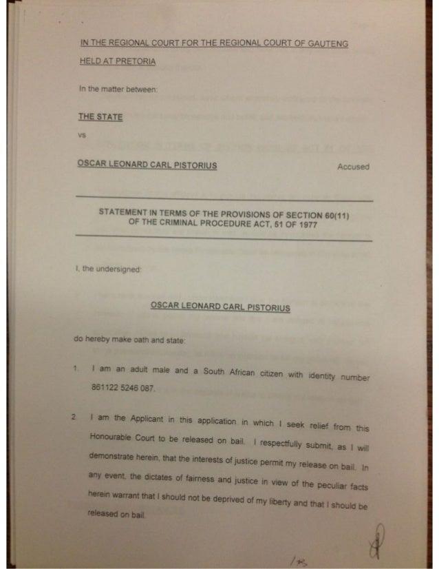 Full affidavit by Oscar Pistorius in Pretoria