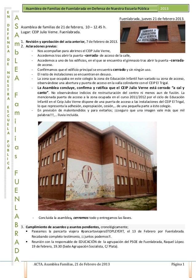 Asamblea de Familias de Fuenlabrada en Defensa de Nuestra Escuela Pública                     2013EN    A                 ...