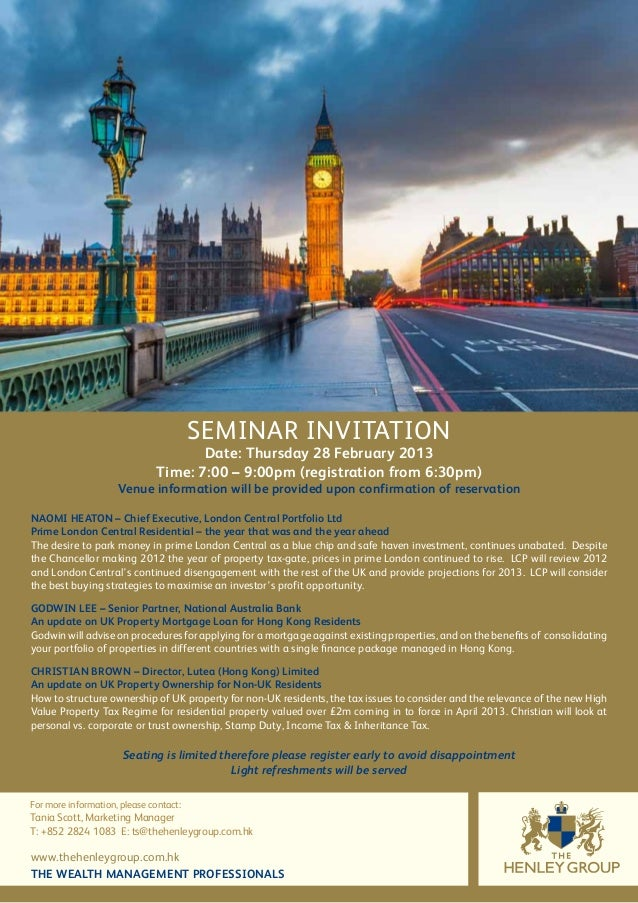 The Henley Group S February Seminar Invitation London Property