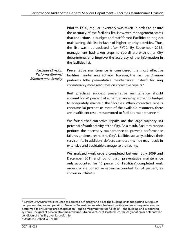Audit Of Facilities Management